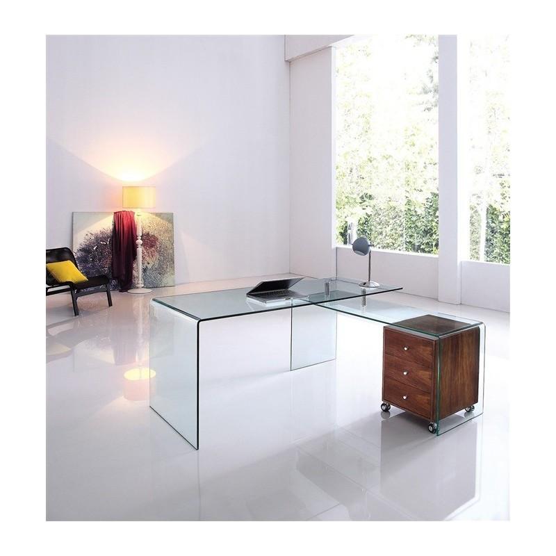 Conjunto FRANCE NEW, mesa + mesa ala, cristal transparente