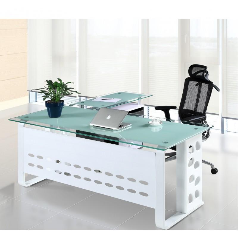 Mesa CHIASSO, mueble a derecha, cristal, 160x80 cms