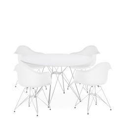 mesa y sillón Tower cromados